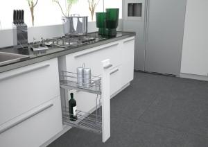 Sige предлагает широкий ассортимент выдвижных систем : бутылочницы, выдвижные колонки, поворотные колонки, «волшебные уголки», сетчатые полки и полки со стеклянным дном, сушки для посуды